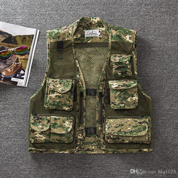 Wholesale camouflage waistcoat - Summer men Multi Pockets Camo Fish Hunt Vest Shooting Waistcoat Esporte Sleeveless Jacket mesh Camouflage Vest