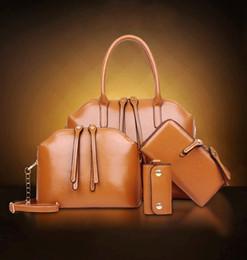 Wholesale Office Bags For Women - New Fashion Designer Women 4PCS Set Bags Handbag Sets For Ladies Leather Shoulder Office Plain Tote Bag Womens Shell Handbags Hand Bags Sale