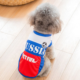 Wholesale medium jersey - Fml Pet Clothes Cotton Dog Soccer Jersey Vest New Cotton Breathable Dog Jersey Football Team Costume For Dogs