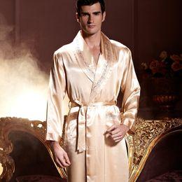 XIFENNI Brand Men Robes Sexy Satin Silk Bathrobe Kimono Gold Long-Sleeved Sleepwear  Lounge Hot Trend Pyjama Female 7222 9b6b34458