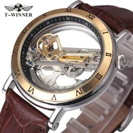 Herrenuhren Gewinner Vintage Herren Uhren Top-marke Luxus Automatische Goldene Brücke Mechanische Uhr Männer Braun Lederband Relogio Masculino Mechanische Uhren