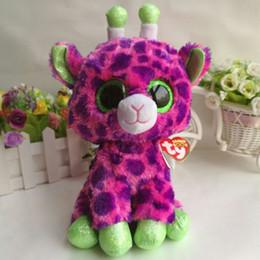 "Wholesale Wholesale Valentine Stuff - Gilbert giraffe TY BEANIE BOOS 1PC 25CM 10"" BIG EYE Plush Toys Stuffed animals KIDS TOYS VALENTINE GIFT children toy car decor"