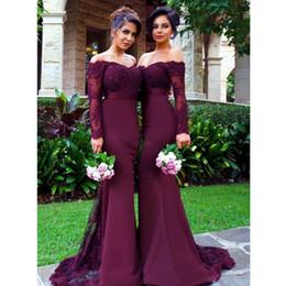 Canada 2018 robes de demoiselle d'honneur sirène à l'épaule violette manches longues chérie appliques perles de dentelle train tribunal robes de bal robes de soirée Offre