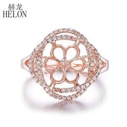 HELON 9mm-11mm Yuvarlak Inci Yarı Dağı Yüzük Katı 10 K Beyaz Altın Açacağı Doğal Elmas Yüzük Düğün Yıldönümü Trendy Mücevher supplier mounts rings 11mm nereden halkaları 11 mm takar tedarikçiler