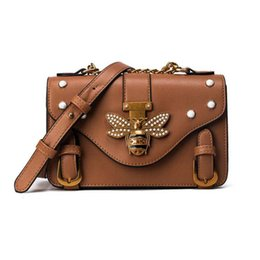 Wholesale young phone - New Designer Women Handbags Shoulder Bag Pearls Bee Buckle Chain Small PU Messenger Bag for Female Young Ladies Party