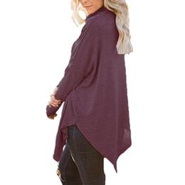 blusas de senhora Desconto Celmia Dividir Hem Assimétrica Blusa de Moda Gola Alta Camisa de Manga Batwing Das Senhoras de Escritório Outono Sólida Básica Slim Fit Blusas