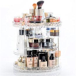 2019 различные типы макияж Пластиковые хранения макияж Cq акрил 360 градусов вращающийся макияж организатор регулируемый многофункциональный косметический подходит для различных типов дешево различные типы макияж