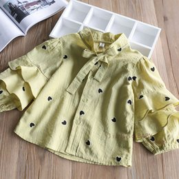 Wholesale Hearts Blouses - 2018 Baby Girls Embroidery Heart Blouse Kids Girls Fashion Ruffles Shirts Babies Spring Princess Jumper tops Kids Clothing