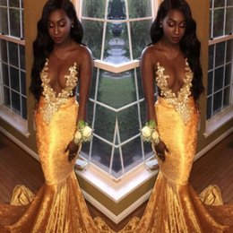 Wholesale Long Velvet Dresses Girls - 2018 Velvet Black Girls Gold Prom Dresses Mermaid Sexy Sheer Jewel Neck Illusion Long Sleeves Appliqued Long Evening Gowns Party Occasions
