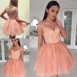 2e138fc8a0 2018 Short Mini A Line Peach Homecoming Dresses Crew Neck Lace Applique  Illusion Long Sleeves Tiered For Junior Cocktail Party Prom Gowns