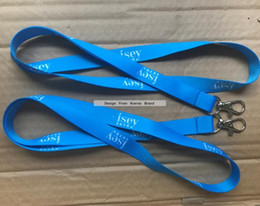 Wholesale Business Meeting Gifts - Promotion Sky Blue Heat Transfer Polyester Neck Lanyard Logo Design Custom Gift Lanyard for School Exhibition Meeting Business