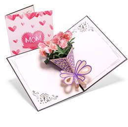 2019 cumprimentos do dia de mães Cartão de dia das mães 3D tridimensional buquê de cravos Cartão de saudações de aniversário criativo ... cumprimentos do dia de mães barato