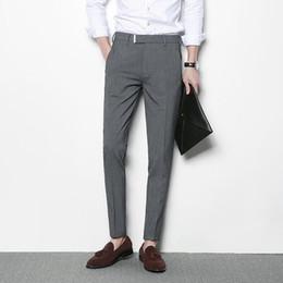 Wholesale Men Office Pants - Mens Grey Trousers Black Casual Dress Pants Men Pantalon Homme Costume Slim Fit Business Classic Office Suit Pant Formal