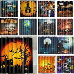 2019 cortinas de crânio Cortinas de Halloween cortina de chuveiro para crânio abóbora elefante cortina de gato New 3D cortina de banheiro à prova d 'água com ganchos 165 * 180 cm WX9-109 desconto cortinas de crânio