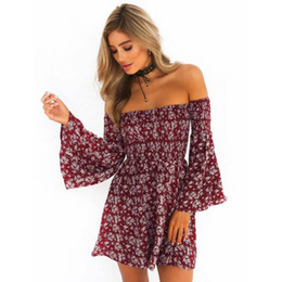 6d239283f0 Moda mujer Fashion Women off shoulder Summer Beach Casual Evening Party  Short Mini Dress Lady Floral Strapless straight dresses