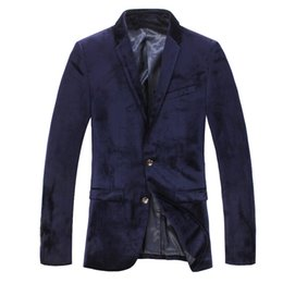 Wholesale Luxury Black Velvet Jacket - Mens blazers slim fit black velvet men casual suit jackets 2016 spring autum luxury business suits blazer masculino outwear coat