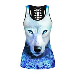 Tanque azul de impresión online-Blue Flame Wolf Print Moda 3D Mujeres Tank Tops Chaleco