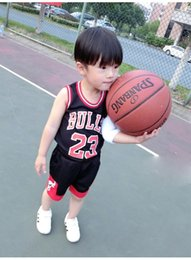Wholesale Boys Summer Tops - Kids Tracksuits Boys Girls Summer Sports Suits Sleeveless Clothing Basketball 23 Bulls Tops Shirts Shorts Sets Child Casual Sportwear sale