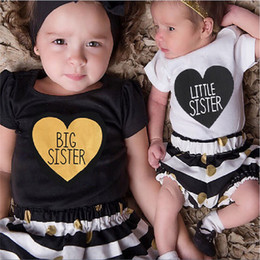 2019 roupas de meninas Crianças carta impressa ponto listrado algodão manga curta vestido de bebê meninas moda big sister dress little sister outfits roupas de meninas barato