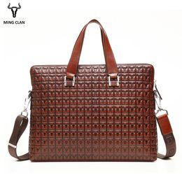 Maleta de cuero genuino online-Mingclan Bag Male Genuine Leather Bag Maletines Male Male Business Computer Laptop Bags Print Crossbody Suitcase Office Work Bag
