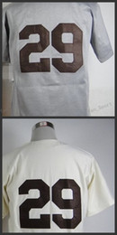 jerseys de uniforme de béisbol Rebajas 29 Leroy Robert Satchel Paige Jersey Authenitc Vintage Uniformes de béisbol Cream Hemp Gray