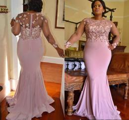 Wholesale Navy Blue Formal Dress Juniors - Pink Mermaid Africa Formal Evening Dresses Jewel Long Sleeve Flower Applique Beaded Junior Bohomian Party Prom Gown Junior Bridesmaid Wear