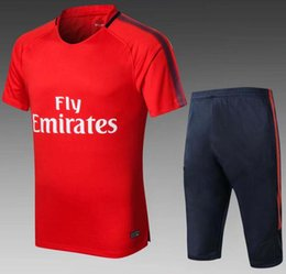 Wholesale Jersey Pant Kit - 2018-19 PSG Short Sleeve Jersey Training Suit 3 4 Pants tracksuit NEYMAR JR MBAPPE training suit CAVANI soccer Jerseys kit free shipping