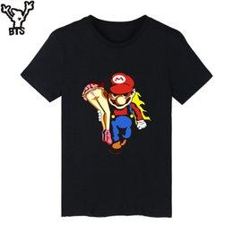 Wholesale Gray Mario - BTS Super MarioRun Cartoon Game T-shirt Men Hip Hop Short Sleeve TShirts and T Shirt Men Print Super Mario Tee Shirts