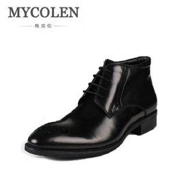 2019 chaussure de chaussure MYCOLEN Hommes Chaussures Printemps Automne Britannique Mode Cheville Bottes Hommes Confortable Brogue Chaussures Casual Marron Martin Bottes Schoenen chaussure de chaussure pas cher