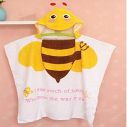 Cotone modello mantello online-Cotone all'ingrosso animale stampato modello bagno bagno asciugamano con cappuccio fumetto mantello asciugamani spiaggia trasporto di goccia toaha de banho para beBeX