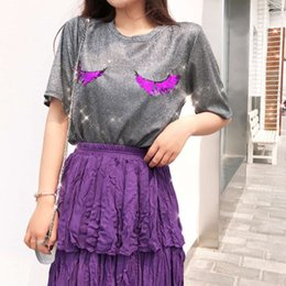 Wholesale Sequin Half Sleeves Tops - High Quality Shining top tees sequin eyelash t shirt Summer fashion glitter round neck Half Sleeve top t shirts