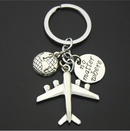 Wholesale handmade tags - Earth Airplane Keychains No Matter Where Pendant Travel Keyring Friendship Best Friend Jewelry Diy Handmade