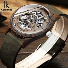 orologi ik Sconti IK Coloring Men Watch Fashion Caso di legno casual Crazy Horse Cinturino in pelle Orologio in legno scheletro meccanico automatico maschile Relogio
