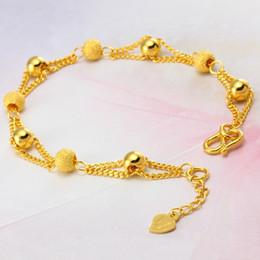 Grânulos banhados a ouro de 24k on-line-pulseiras de cor pura pulseira de ouro para as mulheres, 24k chapeamento contas de bola pulseira 16 + 3 cm, pulseira de ouro da moda, mulheres / meninas pulseira