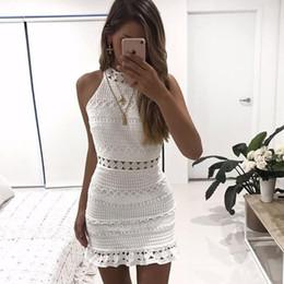 Vestito da sera midi da donna online-stile estivo midi vestito bianco nuova primavera eleganti cava fuori delle donne del vestito di pizzo senza maniche corto casuali vestidos vestito da sera di partito cava