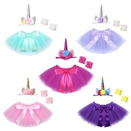Wholesale Wholesale Baby Barefoot Headband Sets - Infant Clothing Unicorn Outfit Tutu Skirt with Headband Barefoot Sandals Set Photography Props 100 days Baby Birthday Party Costume LC800