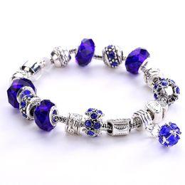antike kristallarmbänder Rabatt Modeschmuck Antik Silber Big Crystal Perlen DIY Frauen Charm Armband Bead Anhänger Kupfer Armreif Armbänder für Frauen
