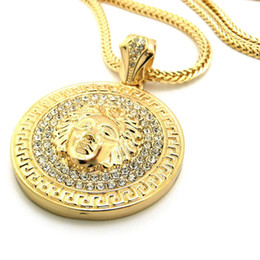 Wholesale Avatar Pendant - 2018Hip hop long necklace 24K gold plated Medusa Avatar High quality crystal jesus piece pendant Fashion Jewelry for women & men XQ03