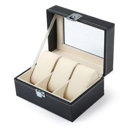 Luxe Montre Boîte 3 Grilles Slots PVC Etui En Cuir Bijoux Organisateur De Stockage Élégant Montres Collection cadeaux Organisateur caja reloj ? partir de fabricateur