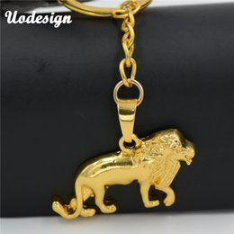 Wholesale Lions Keychain - Uodesign High Quality Alloy animal Lion Pendant keychain Gold Color Chain Hip-hop Jewelry For Men
