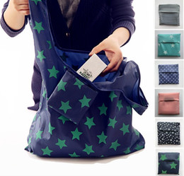 Canada 6styles pliable réutilisable sacs à provisions éco stockage sacs sacs à rayures étoiles dot imprimé shopping fourre-tout sac à main 53 * 35cm ffa761 120pcs cheap stripe storage bag Offre