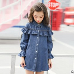 Wholesale Girls Shirt Jeans - Spring children jeans dress shirts fashion big girls lapel falbala casual denim tops womens flare sleeve single breasted cowboy dress Y0129