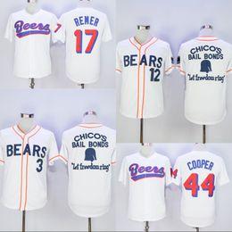 Wholesale bear men costume - Stiched Bad News Bears #12 Tanner Boyle #3 Kelly Leak DOUG REMER #17 JOE COOP COOPER #44 BASEketball BEERS Movie Costume Baseball Jersey