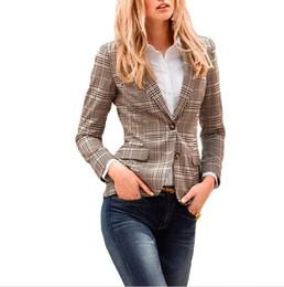 Wholesale Plaid Suit Jacket Women - Women Plaid Blazer New Autumn Collection Spring Fashion Plaid pads on elbows Slim Fit Two Button Blazer Suit Jacket Casual Basic