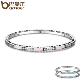 Wholesale Green Enamel Light - whole saleBAMOER Genuine 925 Sterling Silver 3 Color Radiant Hearts, Light Pink Enamel & Clear CZ Bangle & Bracelet Luxury Jewelry SCB017
