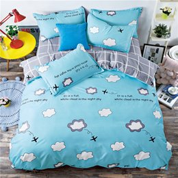Wholesale Pink Striped Bedding - Blue white gray grid bedding set white striped cloud bed linen duvet cover pillowcases twin full queen size cartoon bed sheet
