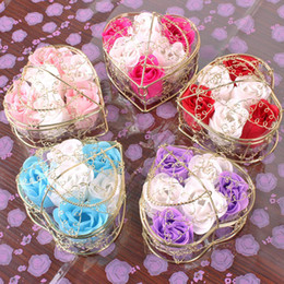 Wholesale Paper Soap Heart - 3pcs Set Iron Bar Box Packed Heart Shape Handmade Rose Soap Petal Simulation Flower Paper Flower Soap Valentines Day Birthday Party Gifts