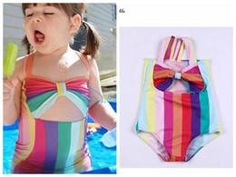 Kind bikini mode online-DHL schnelle Verschiffen 2018 neue Baby Mädchen Bikini Regenbogen Farbe Kinder gestreiften Badesachen Kinder Sommer Strand tragen Mode Mädchen Kleidung