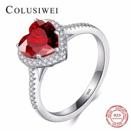 2019 красные сердечные кольца для женщин Участие сердца Soild реального стерлингового серебра 925 циркония кольцо 5A CZ свадьба красное сердце ювелирные изделия Марка кольца для женщин подарок скидка красные сердечные кольца для женщин
