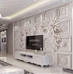 Wholesale tv backdrop wall - 3D European Sandstone Relief Tile Parquet Three-dimensional Mural TV Sofa Living Room Wall Backdrop Large Wallpaper